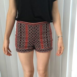 Black Red Embroidered Mid Rise Shorts